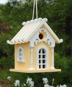 Home Bazaar Fairy Cottage Bird House, Yellow at BestNest.com