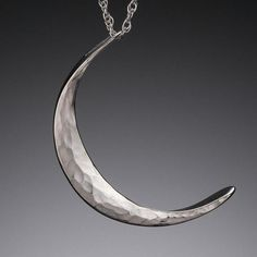 Hammered Sterling Cresent Moon Pendant