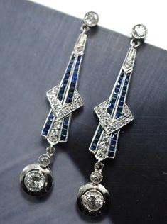 Art deco platinium earring