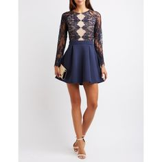 Charlotte Russe Lace Bodice Skater Dress ($37) ❤ liked on Polyvore featuring dresses, navy combo, lace skater dress, long-sleeve lace dress, long-sleeve skater dresses, white lace dress and sexy long sleeve dresses