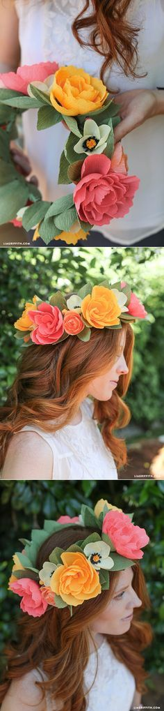 Maybe just one big one. Crepe Paper Flower Headband with peonies, roses, and poppies                                                                                                                                                                                 Más