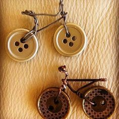 Cute #idea of #recycled #buttons into #tiny #bikes