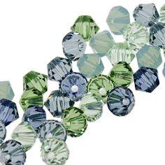 4mm crystal mix: Chrysolite, Denim Blue, Erinite, Indian Sapphire, Pacific Opal