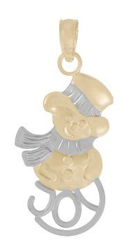 Amazon.com: 14k Gold Christmas Holiday Necklace Charm Pendant, Snowman With Joy Two-color: Million Charms: Jewelry