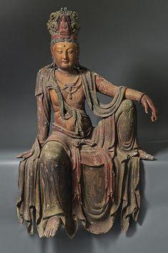 A seated Bodhisattva Guanyin , China , Ming dynasty , Buddha Kunst, Buddha Art, Buddha Sculpture, Sculpture Art, Statues, Renaissance, Taoism, China Art, Guanyin