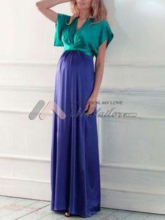 V-Neck Empire A-line Long Maternity Dress