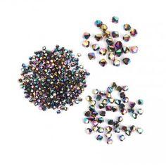 Rainbow Crystal Glass Bicone Beads Pk325 (4mmx250 6mmx50 8mmx25)