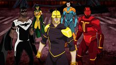 Iddo Goldberg, Russell Tovey, Dilshad Vadsaria, Matthew Mercer, and Jason Mitchell in Freedom Fighters: The Ray Comic Art, Comic Books, Talia Al Ghul, Super Hero Outfits, Fantasy Comics, Superhero Design, Marvel Comic Character, Dc Comics Art, Freedom Fighters