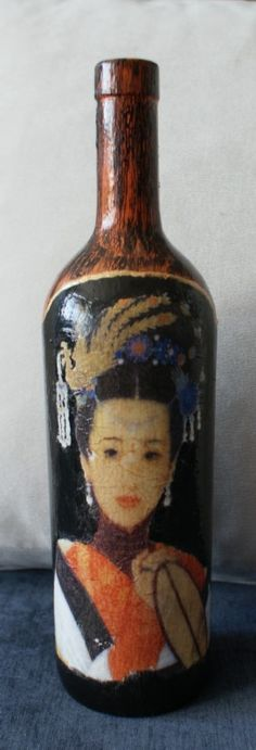 Bottle in the Chinese style, handmade decoupage method