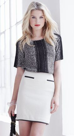 Love this look for inverted triangle shape- straight pencil skirt and  broad shoulder shirt.