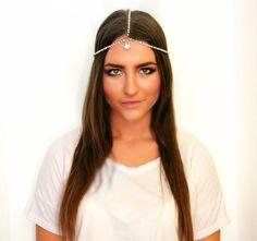 Rhinestone & Pearl Gypsy Crown- Head Chain, Gatsby, Hair Jewelry, Bridal Headpiece, Wedding Headdress, Goddess Headpiece, Diamond Headpiece via Etsy