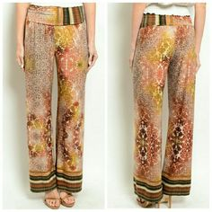 **Coming Soon** These palazzo pants feature a fold over waist and multicolored mixed print all over.   Made in USA  96% Polyester 4% Spandex Pants
