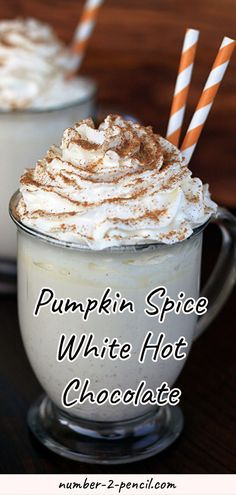 This Pumpkin Spice White Hot Chocolate is an absolutely delicious treat.s a rich and creamy homemade white hot chocolate with a touch of warm pumpkin pie spice. Perfect for getting cozy with a on a crisp fall night. More family favorite recipes on num Coffee Recipes, Pumpkin Recipes, Fall Recipes, Holiday Recipes, Fruit Recipes, Hot Chocolate Bars, Hot Chocolate Recipes, White Chocolate, Drink Recipes Nonalcoholic