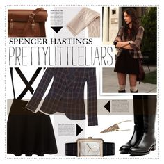 """Pretty Little Liars: Spencer Hastings"" by fran-tasy ❤ liked on Polyvore featuring H&M, Rupert Sanderson, The Cambridge Satchel Company, Otazu, Chanel, Anja, pll and spencerhastings"