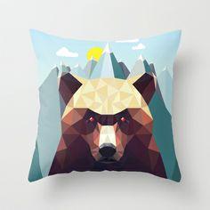 Bear Mountain Throw Pillow by Davies Babies - $20.00 ---JoJo's man cave