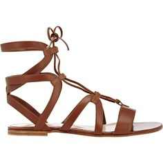 Gianvito Rossi Ferah Gladiator Sandals (€745) ❤ liked on Polyvore featuring shoes, sandals, flat sandals, sapatos, nude, nude sandals, leather lace up sandals, leather sole shoes and roman sandals