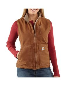 Carhartt Women's Sandstone Mock-Neck Vest - Sherpa-Lined  http://www.countryoutfitter.com/products/26090-women-s-sandstone-mock-neck-vest-sherpa-lined