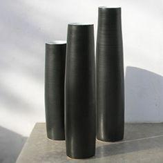 Rupert Spira  Cylinder vessels  Matte black and shiny white glaze, stoneware