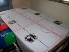You& heard about our exploits on ice. This week we celebrate the start of NHL hockey playoffs and our favorite team (Detroit Red Wings! Hockey Birthday Parties, Hockey Party, Skate Party, Boy Birthday, Birthday Ideas, Baseball Party, Themed Parties, Hockey Room, Sled Hockey