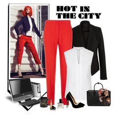 """""""Too hot for work"""" by molly2222 ❤ liked on Polyvore featuring Theory, Maje, Hobbs, MCM, Valentino and Gucci"""
