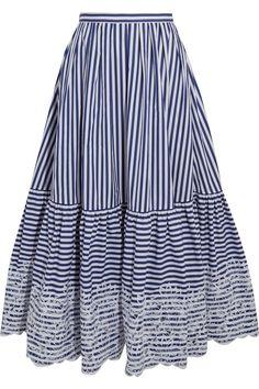Erdem | Leigh embroidered striped cotton midi skirt | NET-A-PORTER.COM