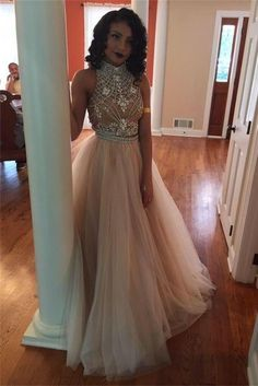 Charming Princess High Neckline Two Pieces Beaded Tulle A-line Prom Dresses Z0120