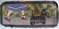 i love the walking the dog viewpoint of this rug! Scottie on hooked rug