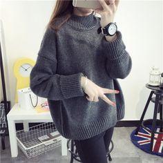 Automne hiver vêtements à col haut pull Coréenne chandail femmes à manches…