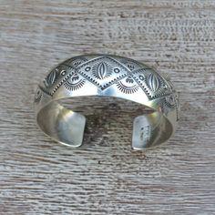Navajo Silver Cuff Bracelet Wilbur Tracy Native by AdjaniDesigns