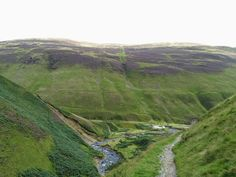View from Grey Mares Tail waterfall across the valley. The heather was out early this year