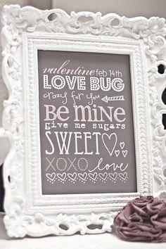Valentine's Day free printable in frame, in many sizes