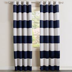 Harriet Bee Dellinger Bold Striped Blackout Grommet Curtain Panels & Reviews | Wayfair
