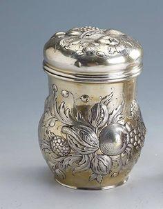 Tea caddy, german, Hanau approx. 1900s, 800 silver, manufacturer's brand Gebr…
