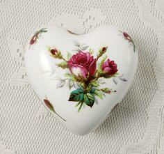 Hammersley Heart Shaped Trinket Box with Roses, Vintage Bone China