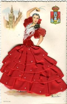 Double thick color postcard of flamenco dancer marked SEVILLA (Seville) with picture of cathedral tower and a coat of arms. Fashion Illustration Sketches, Fashion Sketchbook, Fashion Sketches, Like A Rhinestone Cowboy, Handkerchief Crafts, Dress Card, Flamenco Dancers, Dress Sketches, Dress Tutorials