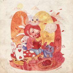 Leyendo a Alicia en el País de las Maravillas (ilustración de Mirita)