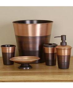 Solid Pc Ceramic Bathroom Accessory Set Tumbler Soap Dish - Copper coloured bathroom accessories