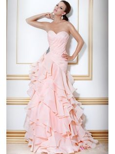 Affordable Floor Length / Long Pink Sweetheart Chiffon Evening / Formal / Prom Bridal Dresses