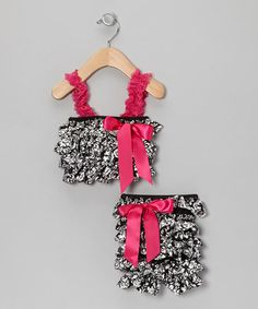 Another great find on #zulily! Black & Pink Diva Rattle Ruffle Top & Pants - Infant by Stephan Baby #zulilyfinds