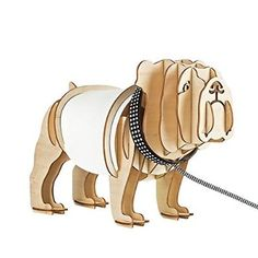 Designer Style Slot-Together Wooden Pug Boxer Dog With Glowing X-Ray Belly And Bone, Diamond Stud Effect Collar And Lead Table Lamp Light