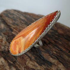 Orange Bowlerite & Sterling ring OOAK size 7 1/4 ring by RustyWing