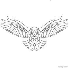 Eagle Back Tattoo, Eagle Chest Tattoo, Eagle Tattoos, Tribal Tattoos, Geometric Tattoo Eagle, Geometric Tattoo Design, Geometric Bird, Geometric Sleeve, Mandala Tattoo