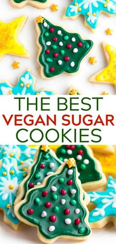 Soft vegan sugar cookies that hold their cookie cutter shapes! Perfect for Christmas, Valentine's Day or any other holiday. Have fun with easy icing and sprinkles of course!