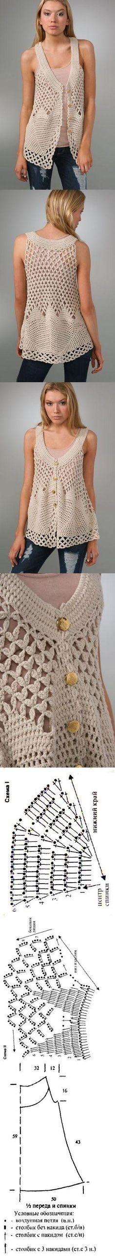 Crochet Vest by janine Moda Crochet, Crochet Motifs, Crochet Yarn, Crochet Tops, Free Crochet, Crochet Pattern, Crochet Shirt, Crochet Jacket, Crochet Cardigan