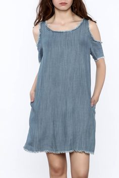 d9e53bb835b Elan Distressed Denim Dress - Front Cropped Image Shoulder Cut