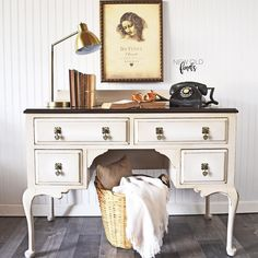 Shabby Chic Nightstand, Dresser As Nightstand, Grey Painted Furniture, Diy Furniture Renovation, Solid Wood Desk, Diy Home Decor Projects, Beautiful Space, Wood And Metal, Living Spaces
