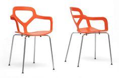 Wholesale Interiors DC-357-Orange Miami Orange Plastic Modern Dining Chair - Set of 2