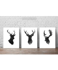Deer Head Set of 3, Gray Minimalist Drawing, Black Antlers Silhouette, Wall Decor Illustration, Ink Abstract Animal Poster by ColorWatercolor on Etsy