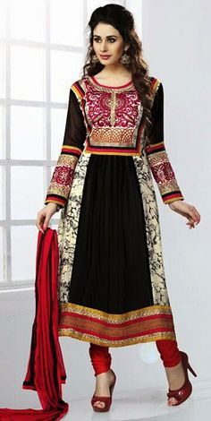 USD 33.53 Black Georgette Pakistani Salwar Kameez 43325