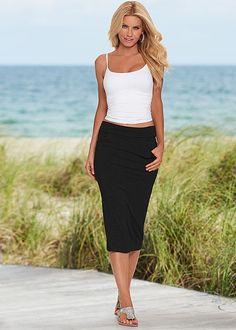 Venus easy midi skirt in black with Venus seamless cami and Venus rhinestone flat.
